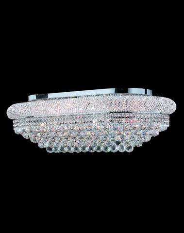 Royal Empress Flush Mount OVAL Basket Chandelier - CHROME - L:90cm - Designer Chandelier