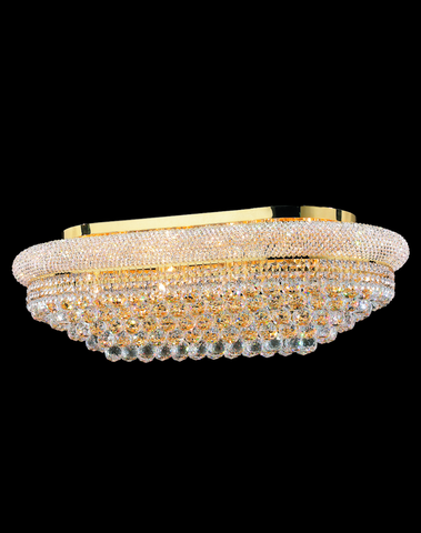 Royal Empress Flush Mount OVAL Basket Chandelier - GOLD - W:90cm - Designer Chandelier