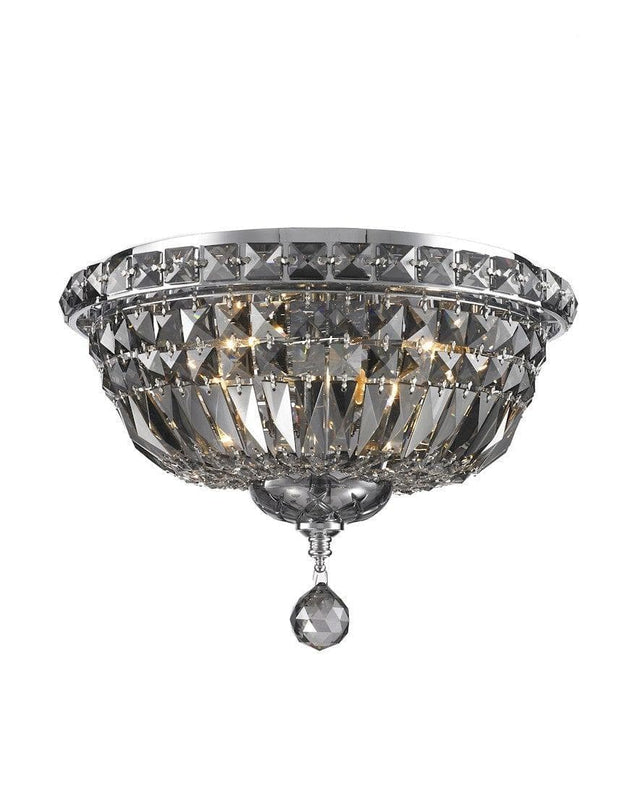 Empress Flush Mount Basket Chandelier - CHROME & SMOKE- W:35cm - Designer Chandelier