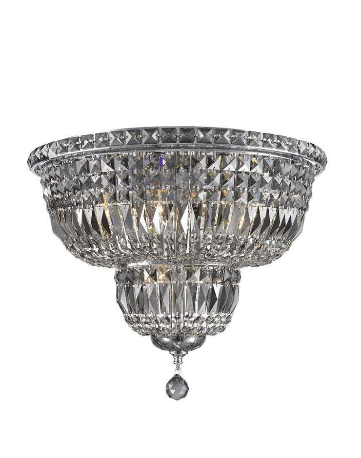 Empress Flush Mount Basket Chandelier - CHROME & SMOKE - W:50cm - Designer Chandelier