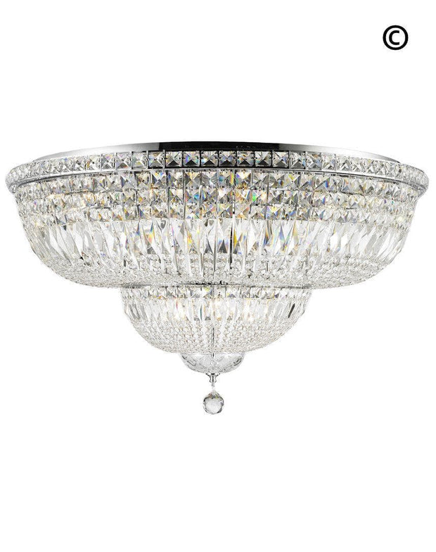 Empress Flush Mount Basket Chandelier - CHROME - Width:94cm - Designer Chandelier
