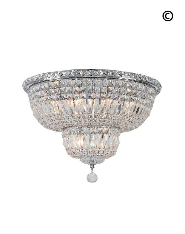 Empress Flush Mount Basket Chandelier - CHROME - W:50cm - Designer Chandelier