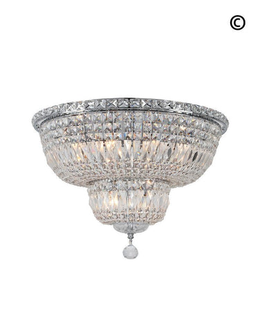 Empress Flush Mount Basket Chandelier - CHROME - W:50cm-Designer Chandelier Australia