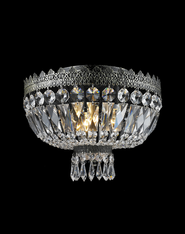 Royal French Basket Chandelier - Flush Mount - Antique SILVER - W:30cm - Designer Chandelier