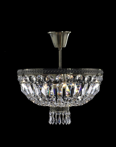 French Basket Semi Flush Mount Chandelier - Antique Bronze - Width: 40cm - Designer Chandelier