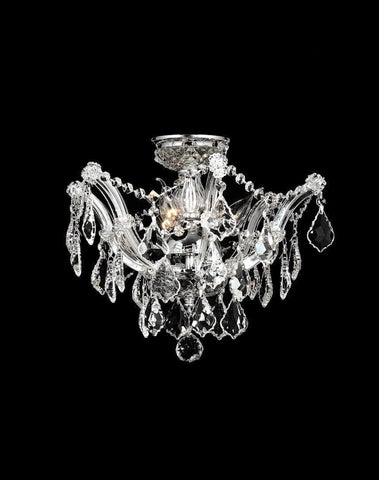 Maria Theresa Flush Mount Chandelier -  Chrome Finish - W:40cm - Designer Chandelier
