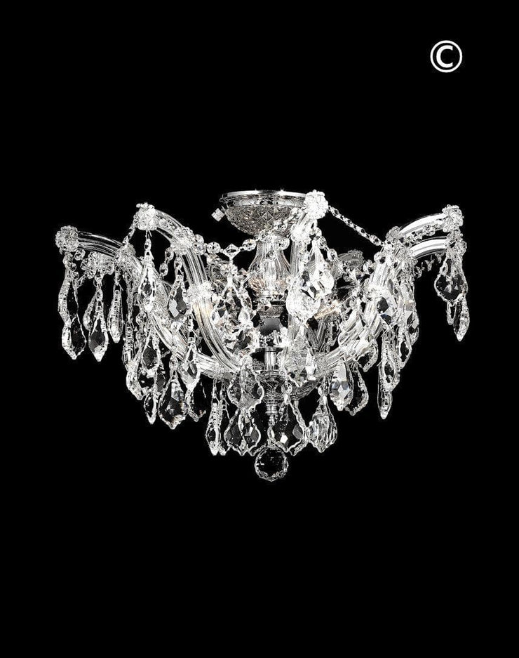 Maria Theresa Flush Mount Chandelier -  Chrome Finish - W:50cm - Designer Chandelier
