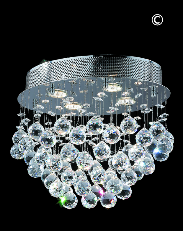 Oval Cluster LED Flush Mount Crystal Chandelier - Width:40cm Length:30cm Height:33cm - Designer Chandelier