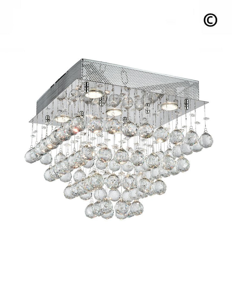 Square Cluster LED Flush Mount Crystal Chandelier - Width:40cm Height:36cm - Designer Chandelier