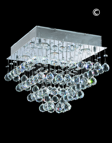 Square Cluster LED Flush Mount Crystal Chandelier - Width:40cm Height:36cm
