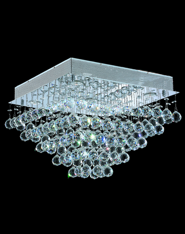 Square Cluster LED Flush Mount Crystal Chandelier - Width:50cm Height:36cm