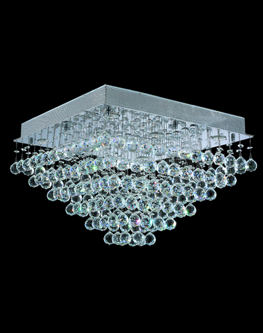 Square Cluster LED Flush Mount Crystal Chandelier - Width:60cm Height:40cm