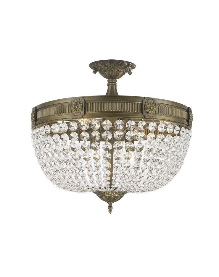 Regency Basket Flush Mount Chandelier -  Antique Bronze Style - W:50cm - Designer Chandelier