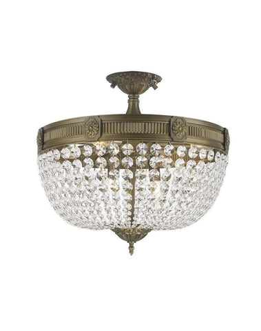 Regency Basket Flush Mount Chandelier -  Antique Brass Style - W:50cm H:40cm