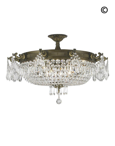 Regency Basket Chandelier -  Antique Bronze Style - Flush Mount - W:75cm H:45cm - Designer Chandelier