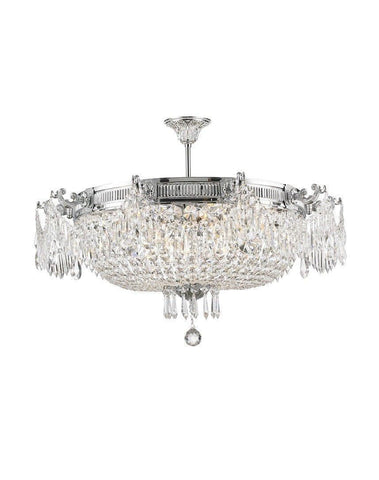 Regency Basket Chandelier -  Chrome Finish - Flush Mount - W:75cm H:45cm - Designer Chandelier