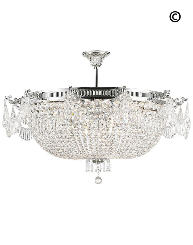 Regency Basket Chandelier -  Chrome Finish - Flush Mount - W:100cm H:55cm - Designer Chandelier