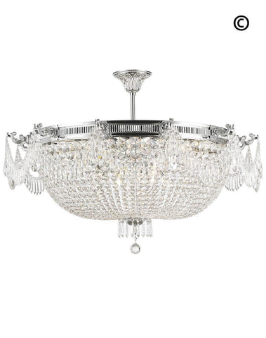Regency Basket Chandelier -  Chrome Finish - Flush Mount - W:100cm H:55cm