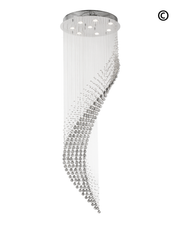 Contemporary Wave LED Chandelier - SMOKE - W:60cm H:190cm - Designer Chandelier