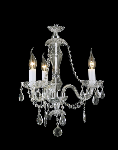Bohemian Brilliance 3 Arm Crystal Chandelier - Chrome - Designer Chandelier