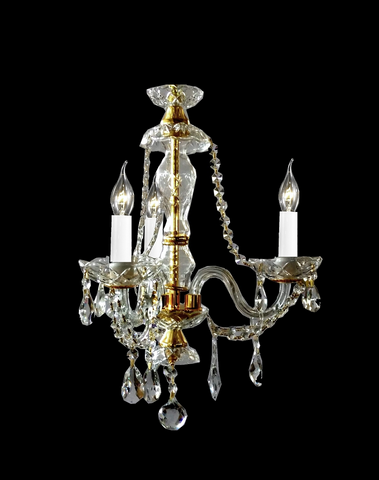 Bohemian Brilliance 3 Arm Crystal Chandelier - Gold - Designer Chandelier
