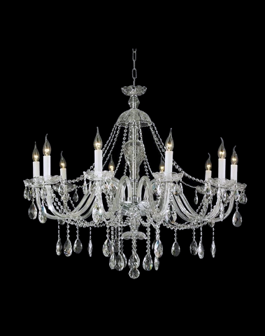 Bohemian Brilliance 10 Arm Crystal Chandelier - Chrome - Designer Chandelier