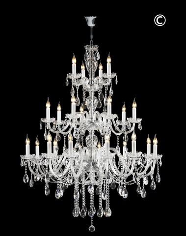 Bohemian Brilliance 24 Arm Crystal Chandelier- CHROME - Designer Chandelier