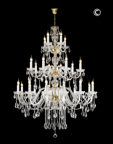 Bohemian Brilliance 24 Arm Crystal Chandelier- GOLD-Designer Chandelier Australia Bohemian Brilliance 24 Arm Crystal Chandelier- GOLD