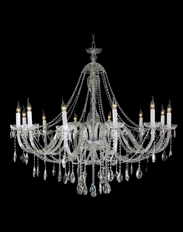 Bohemian Brilliance LARGE 12 Arm Single Tier Chandelier - Chrome - Designer Chandelier