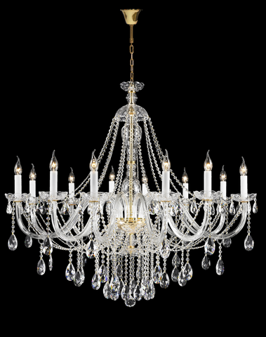 Bohemian Brilliance LARGE 12 Arm Single Tier Chandelier - GOLD - Designer Chandelier