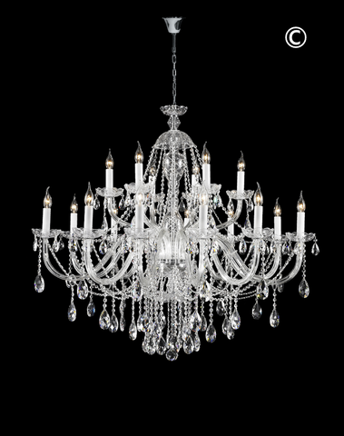 Bohemian Brilliance LARGE 18 Arm Two Tier Chandelier - CHROME - Designer Chandelier