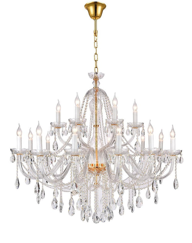 Bohemian Brilliance LARGE 18 Arm Two Tier Chandelier - GOLD - Designer Chandelier