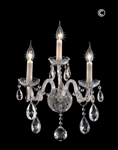 Bohemian Elegance Triple Arm Wall Light Sconce - CHROME - Designer Chandelier
