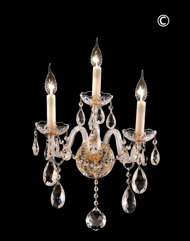 Bohemian Elegance Triple Arm Wall Light Sconce - GOLD - Designer Chandelier