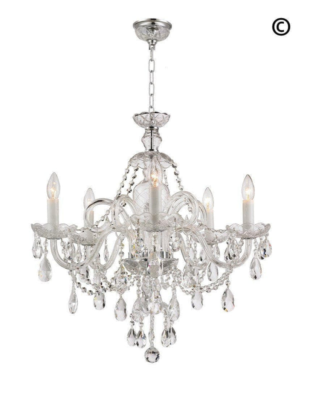 Bohemian Prague 5 Arm Crystal Chandelier - Chrome Fixtures - Designer Chandelier