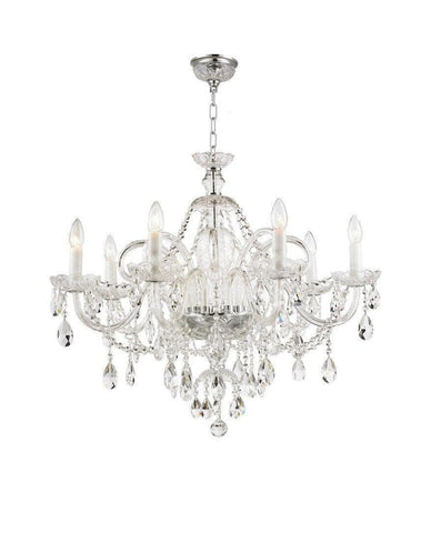 Bohemian Prague 8 Arm Crystal Chandelier - Chrome Fixtures - Designer Chandelier
