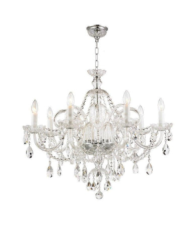Bohemian Prague 8 Arm Crystal Chandelier - Chrome Fixtures - Designer Chandelier  Bohemian Prague 8 Arm Crystal Chandelier - Chrome Fixtures - Designer Chandelier