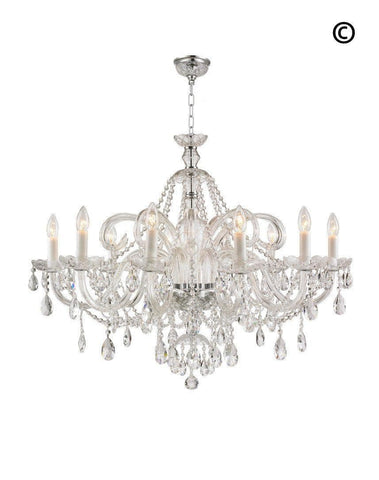 Bohemian Prague 10 Arm Crystal Chandelier - Chrome Fixtures - Designer Chandelier  Bohemian Prague 10 Arm Crystal Chandelier - Chrome Fixtures - Designer Chandelier