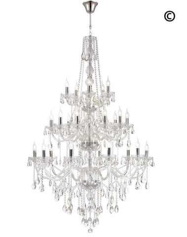 Bohemian Elegance 25 Light Crystal Chandelier- CHROME - Designer Chandelier
