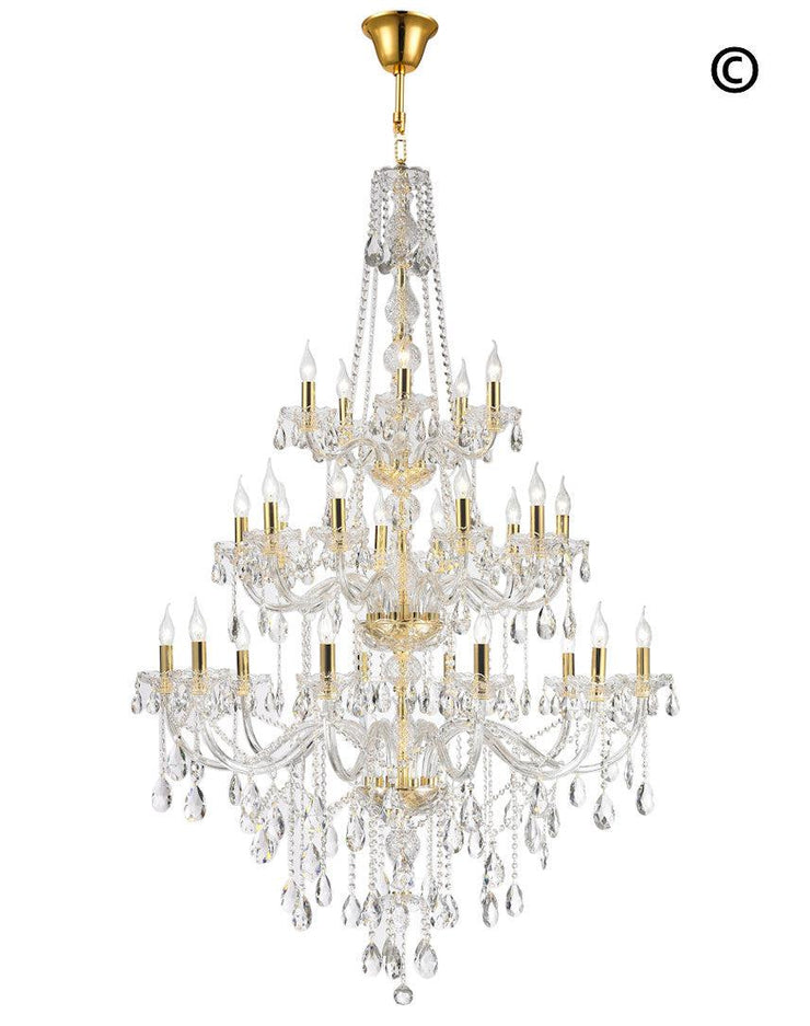 Bohemian Elegance 25 Light Crystal Chandelier- GOLD - Designer Chandelier