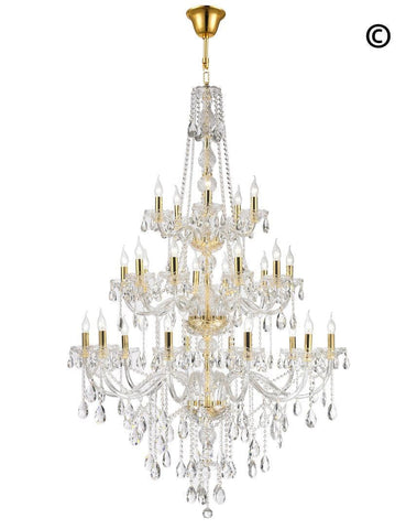Bohemian Elegance 25 Light Crystal Chandelier- GOLD-Designer Chandelier Australia