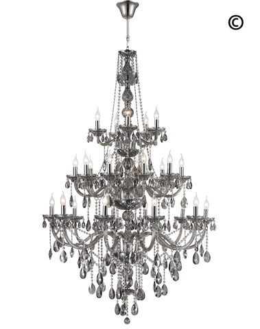 Bohemian Elegance 25 Light Crystal Chandelier- SMOKE - Designer Chandelier