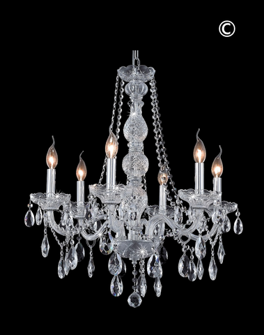 Bohemian Elegance 6 Arm Crystal Chandelier- CHROME - Designer Chandelier