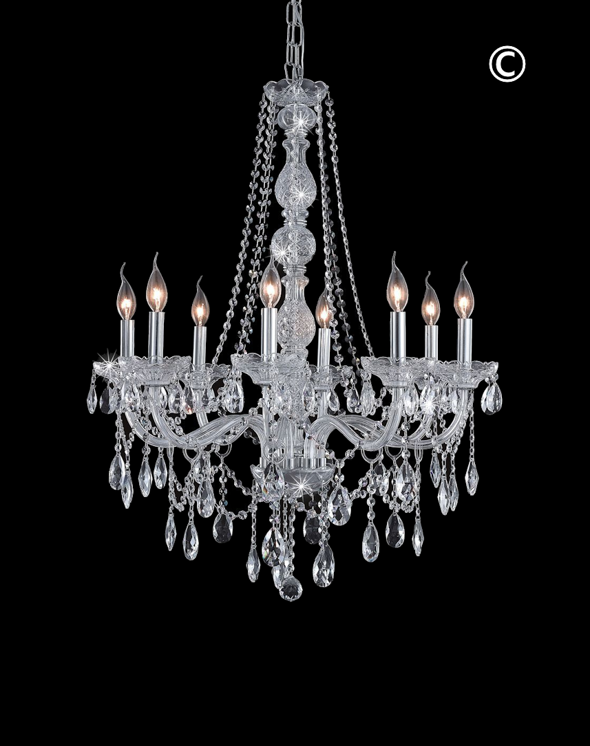 bohemian lighting. Bohemian Elegance 8 Light Crystal Chandelier - CHROME-Designer Australia Lighting R