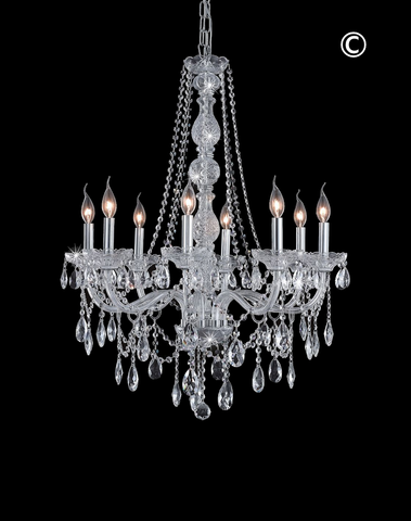 Bohemian Elegance 8 Light Crystal Chandelier - CHROME - Designer Chandelier