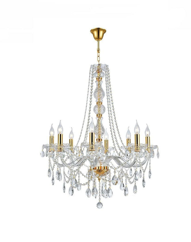 Bohemian Elegance 8 Light Crystal Chandelier- GOLD - Designer Chandelier
