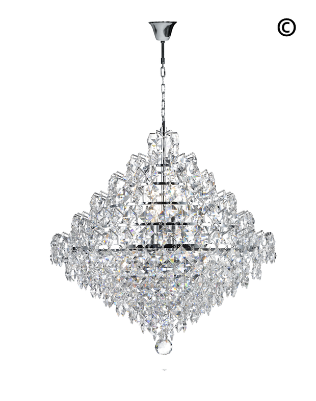 NewYork - Diamond Edge Crystal Pendant Light - 50cm - Designer Chandelier