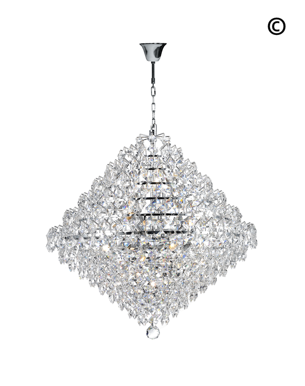 NewYork - Diamond Edge Crystal Pendant Light - 60cm - Designer Chandelier
