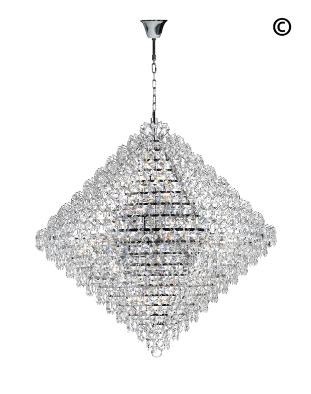 NewYork - Diamond Edge Crystal Pendant Light - 90cm - Designer Chandelier
