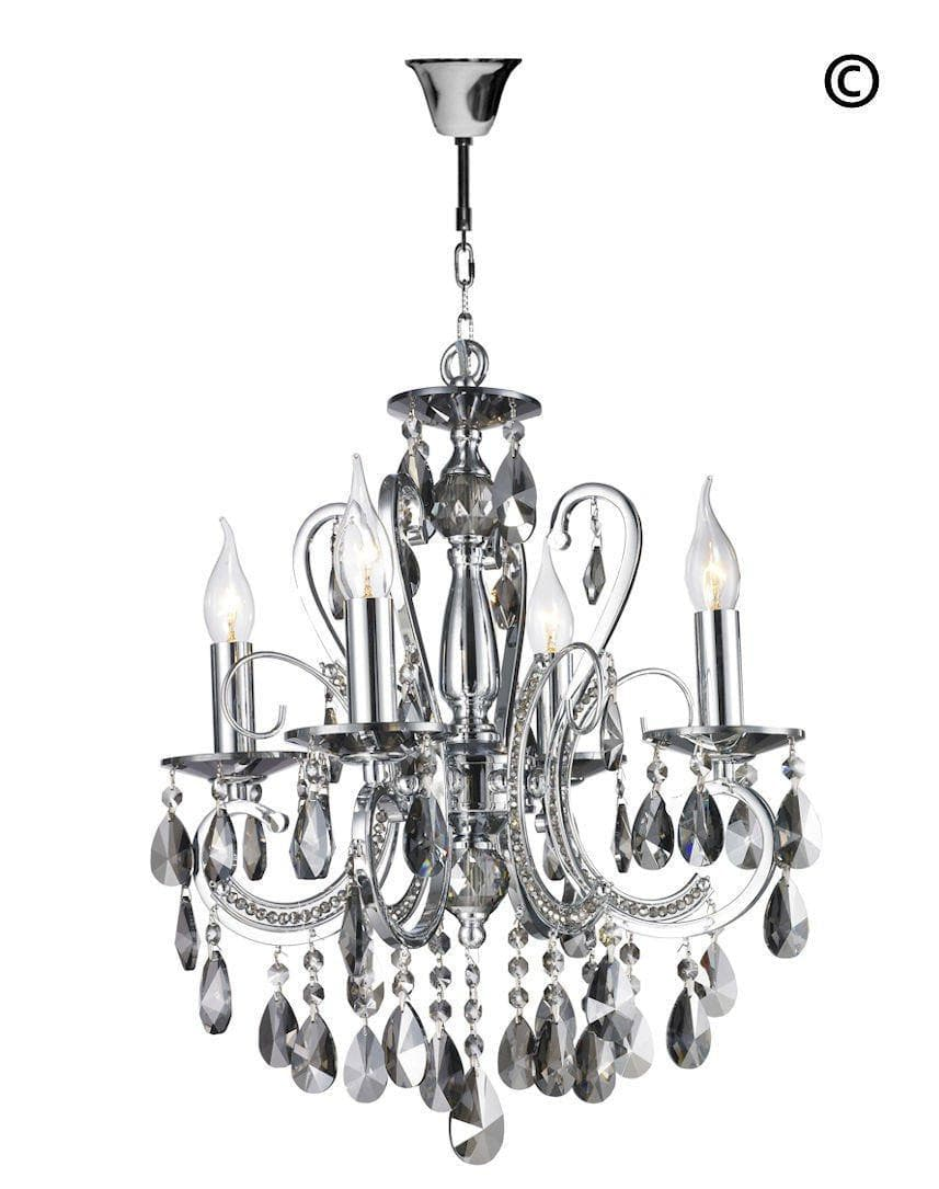 Newyork princess 4 arm smoke chandelier w42cm designer designer princess 4 arm smoke chandelier w42cm designer chandelier aloadofball Image collections